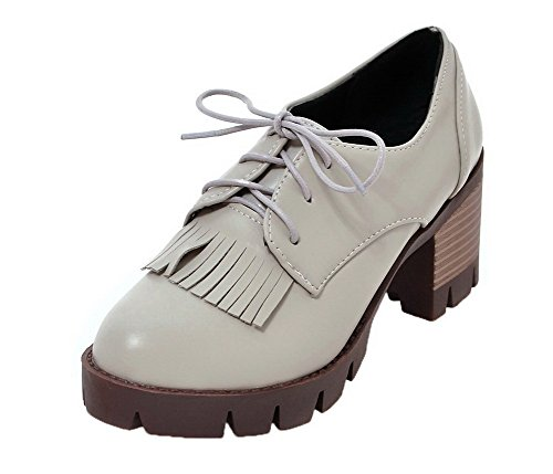 VogueZone009 Women's Lace-up Round Closed Toe Kitten-Heels PU Solid Pumps-Shoes Gray NIIlDdDv