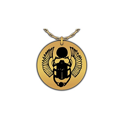 Hot Fresh And Funny Egyptian Mythology Necklace | Scarab Symbol - Rebirth, Good Luck Beetle | Gold-Plated Pendant ()