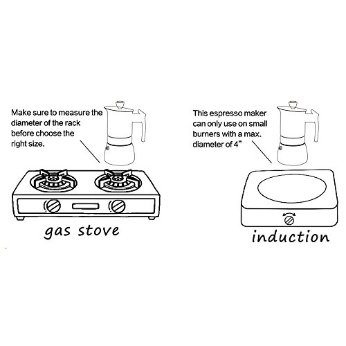 Stovetop Espresso Maker - Moka Pot 6 Cups Demitasse Espresso Shot - Stainless Steel - by AMFOCUS