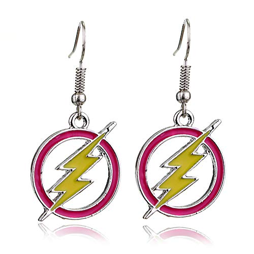 Eiffy Wave Flash Lightning Bolt Earring Pendants Red Lightning Round Hoop Dangle Earrings for Women Jewelry
