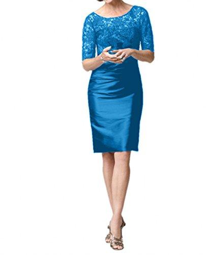 Braut La Spitze Brautmutterkleider Partykleider Etuikleider Schmaler Blau Figurbetont mia Schnitt Abendkleider Kurzarm Formal 5Ofx1SqOw