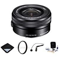 Sony 16-50mm F3.5-5.6 OSS E-Mount Pancake Lens Bundle. #SELP1650 Value Kit w/Acc
