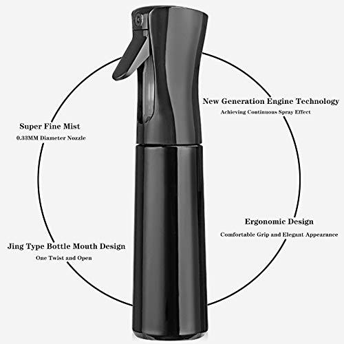 Hair Spray Bottle Empty Plastic Trigger Spray Bottle Refillable Fine Mist Sprayer Bottle 2 Pack 10oz /300ml for Hair Styling, Cleaning, Garden Continuous Water Mister (Black+Black)