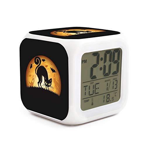 HOTMN Black Cat Halloween Style Cute Multifunction Digital Desk Alarm Clock with LED Touch Light Desk Watch Table Clock]()