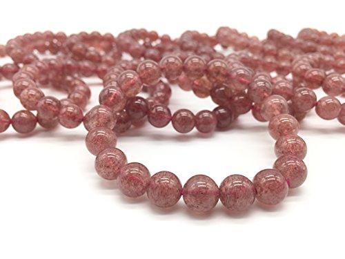 Strawberry Quartz Stone, AiTron Beauty Natural Strawberry Quartz Gemstone 10mm Smooth Round Loose 21pcs Beads 1 Strand for