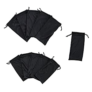 Black Microfiber Sunglasses Glasses & Cell Phone Gadgets Accessories Sleeve Bag Pouch with Drawstring Closure for Cleaning, Protection, & Storage (12 Pack)
