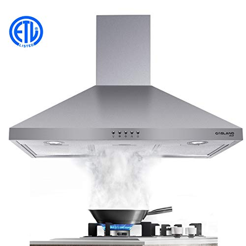 Range Hood, Gasland Chef PR30SP 30″ Wall Mount Range Hoods, 30 Inch Stainless Steel Range Hood Fan, 450 CFM 3 Speed Professional Quiet Motor, Premium Push Button, Aluminum Filter, 2 LED Lamp