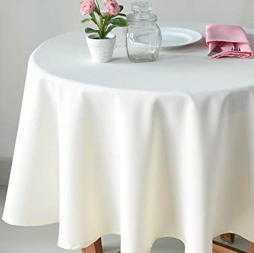 Table Ivory Cover Round (AHOLTA DESIGN Stain Resistant Ivory Tablecloth Polyester Table Cover - Rectangular Square Round - Washes Easily Non Iron - Thanksgiving Christmas New Year Eve (Pearled Ivory Plain, Round 60