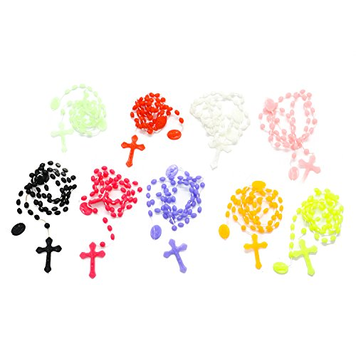Buorsa 15 Pcs Plastic Rosary Beads Grow in Dark
