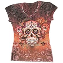 Sweet Gisele Sugar Skull V-Neck T Shirt Day Of The Dead Rhinestones Bling For Women