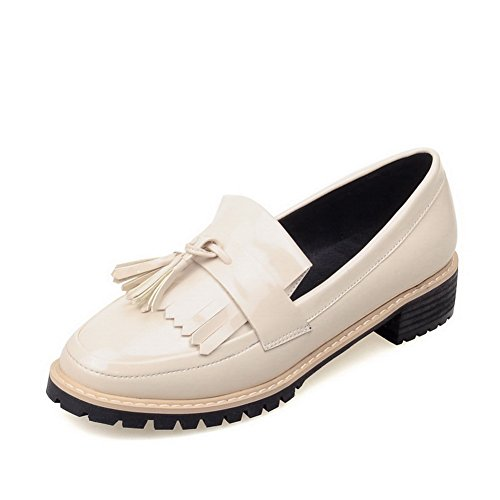 BalaMasa Womens Pull-On Kitten-Heels Slip-Resistant Imitated Leather Pumps-Shoes Beige IN6hsn