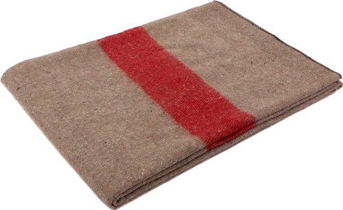 Rothco Swiss Style Wool Blanket, Tan/Red Stripe