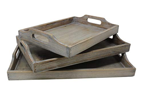 Vintage Rustic Torched Wood Country Nesting Breakfast Trays - White Washed Tray Set For Serving Breakfast, Coffee, Lunch, or Dinner - 3 Piece