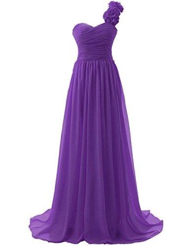 Shoulder Prom Annie's Bridesmaid Women's 2015 One Purple Flowers Long Bridal Dresses Gowns rInIqBzO