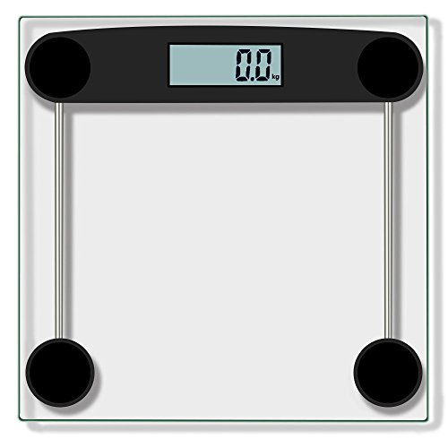 Transer- [US Stock] Digital Body Weight Bathroom Scale With Large LCD Screen, Body Tape Tempered Glass, Step-On Technology, 330 Pounds (Black) by Transer-