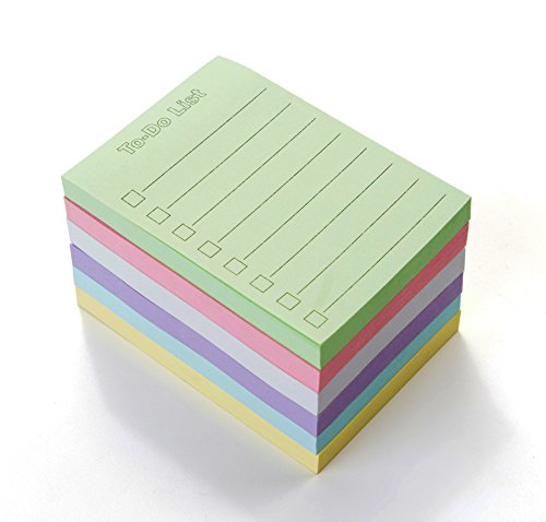 EHME Super Sticky Notes 3' x 4', The To Do List Notepad, Easy Post Lined Notes, 6 Pad/Pack, 100 Sheet/Pad, Six Colors.