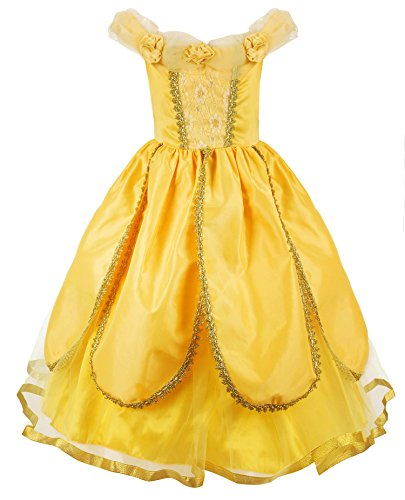 JerrisApparel Princess Belle Costume Deluxe Party Fancy Dress Up for Girls (4 Years, Yellow One)