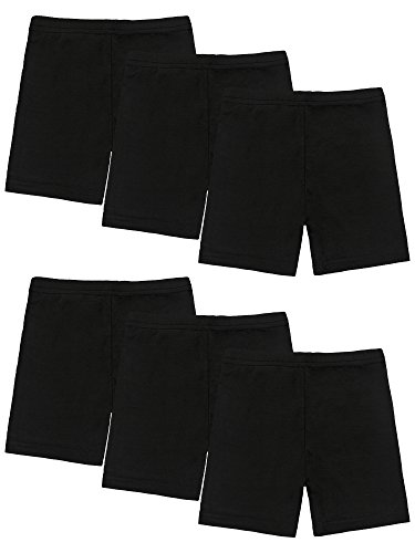 Resinta 6 Pack Black Dance Shorts Girls Bike Short Breathable and Safety 6 Color (4T/5T, Black) ()