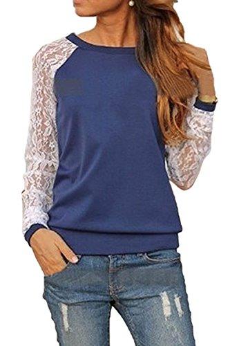 Casual Camiseta De La Encaje Mujer Top Manga Azul Larga Deportes Patchwork  Moda fg6Zqw 020ca9b3d69b