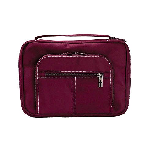 Burgundy Zipper Pocket Microfiber Fabric Bible Cover Case with Handle, Large
