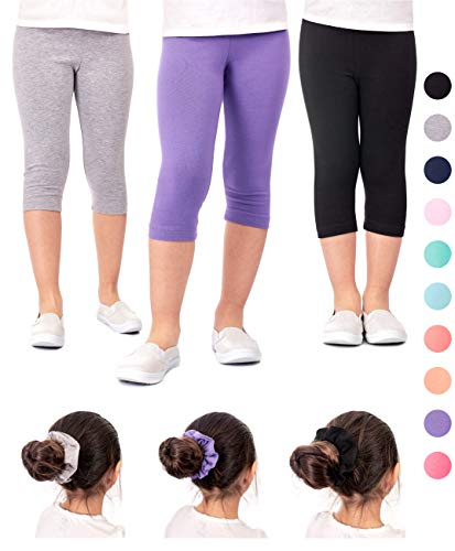 0bec884874d DEAR SPARKLE Girls Capris 3 Pack Cotton Solid Colors + Matching Hair Ties |  Sizes 3-10 (6-7, Black/Grey/Lilac)