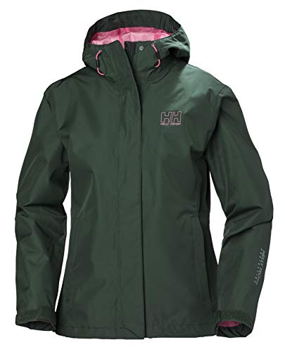 Helly Hansen Women's Seven J Waterproof Rain Jacket with Hood, Jungle Green, Medium (Best Waterproof Jacket Brands)