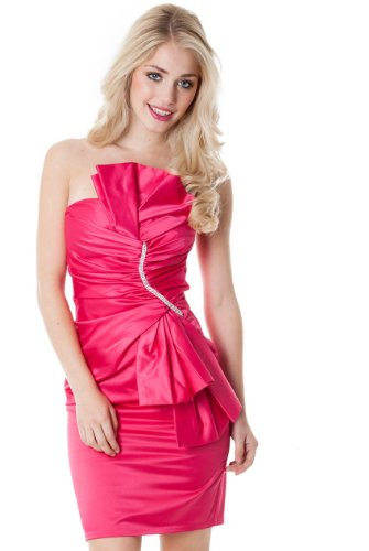 mit UK edler Etuikleid Pencilkleid Applikation Abendkleid in Rosa Cocktailkleid Strass Made wqxCYFUHH