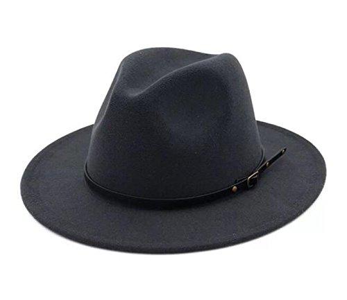Lanzom Womens Classic Wide Brim Floppy Panama Hat Belt Buckle Wool Fedora Hat (One Size, Dark Grey) by Lanzom