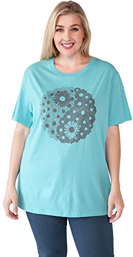 - Yin Yang Plus Size Womans T-Shirt Daisy Flower Print (Aqua Blue, 2X)