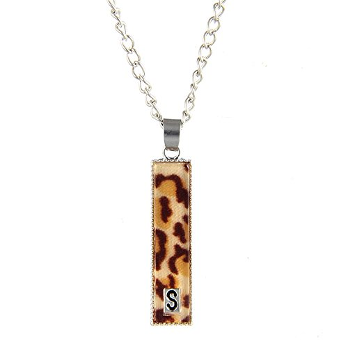 CHUYUN Silver Plated Leopard Rectangle 26 Alphabet English Letters Initial Disc Charms Necklace (S)