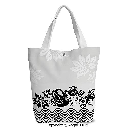 Women portable Canvas Shoulder Shopping bag Black Swans