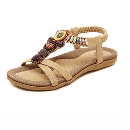 e967971b De alta calidad Bao Xing Bei Firm Sandalias/Zapatillas de playa Boho/Zapatos  de tacón plano de mujer/Zapatos de playa peep-toe/Sandalias de diamantes de  ...