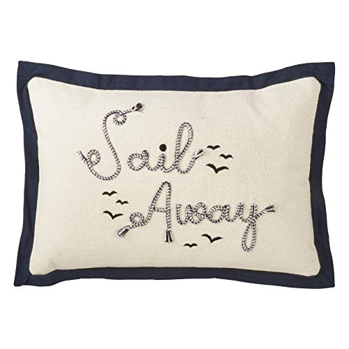 - SARO LIFESTYLE Naviguer Collection Embroidered Sail Away Pillow with Down Filling 12