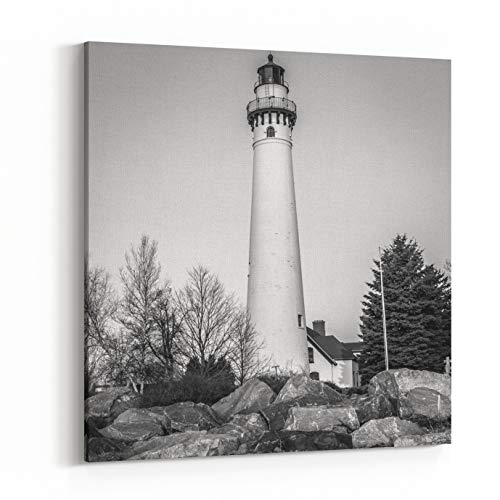 Rosenberry Rooms Canvas Wall Art Prints - Black and White of A Lighthouse with Rocky Shoreline On Lake Michigan in Wisconsin (12 x 12 inches) -
