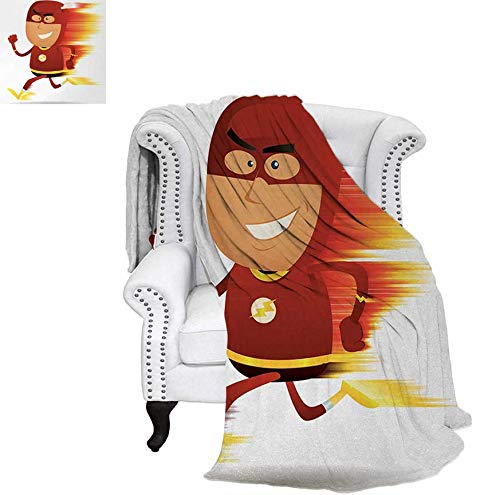 Summer Quilt Comforter Lightning Bolt Man with Cape and Mask Fast Fun Cartoon Character Artwork Print Digital Printing Blanket 70