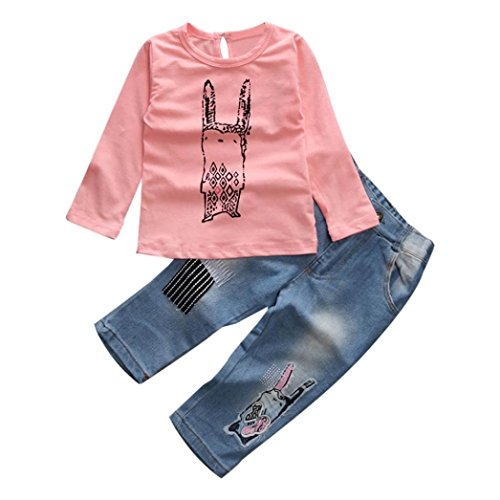 gbsell-2pc-toddler-baby-girls-cute-rabbit-long-sleeve-t-shirt-denim-pants-clothes-set-pink-5t