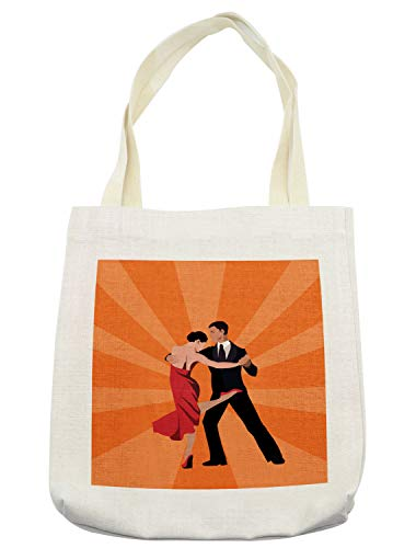 Lunarable Argentina Tote Bag, Minimal Design Couple Performing Tango Dance International Tango Day Concept, Cloth Linen Reusable Bag for Shopping Groceries Books Beach Travel & More, Cream