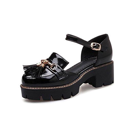 Mary bianco esterno Scarpe per Black la tallone ZHZNVX pelle Primavera tonda Jane sandali in donna punta Estate fibbia nero da Chunky n0RWxRTUaq