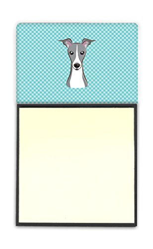 Notes Italian - Caroline's Treasures BB1174SN Checkerboard Blue Italian Greyhound Refiillable Sticky Note Holder or Postit Note Dispenser, Large, Multicolor