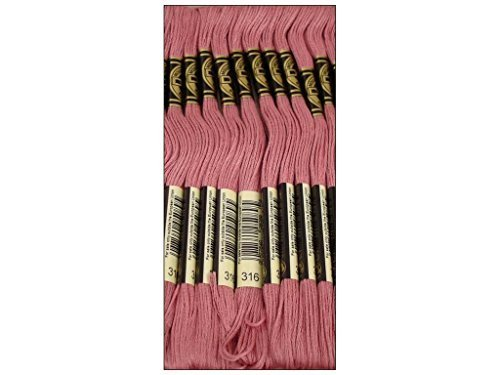 Bulk Buy: DMC Thread Six Strand Embroidery Cotton 8.7 Yards Medium Antique Mauve 117-316 (12-Pack) (Floss Dmc Antique)