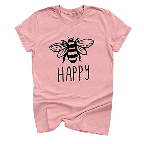Answerl Happy Graphic Tee Shirt for Women Teen Girls Short Sleeve Letter Print Graphic Tee Shirt Top Funny Blouse Pink