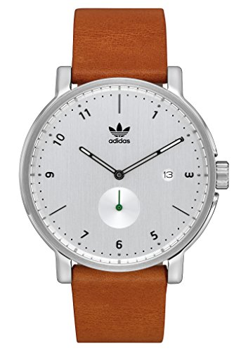Adidas Watches District_LX2. Premium Horween Leather Strap, 20mm Width (Silver/Black/Tan. -
