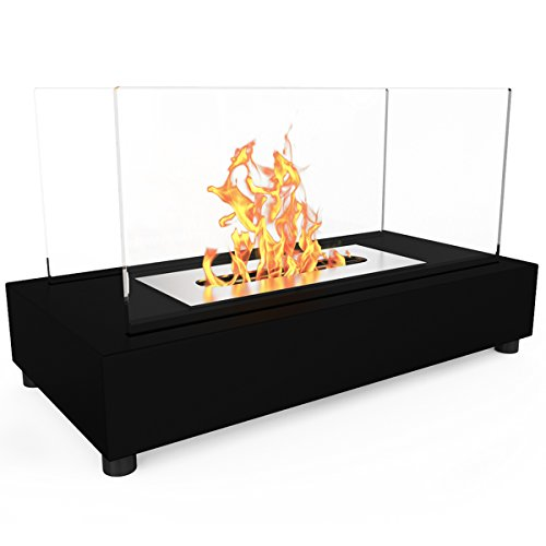 Regal Flame Avon Ventless Indoor Outdoor Fire Pit Tabletop Portable Fire Bowl Pot Bio Ethanol Fireplace in Black - Realistic Clean Burning like Gel Fireplaces, or Propane Firepits -
