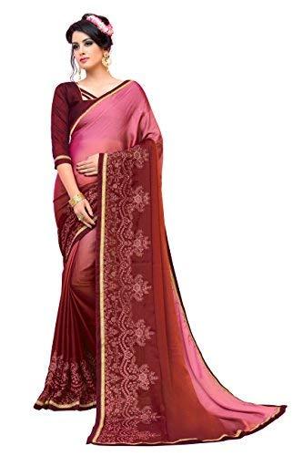 Glory Sarees Women's Chiffon Saree PINK Free Size