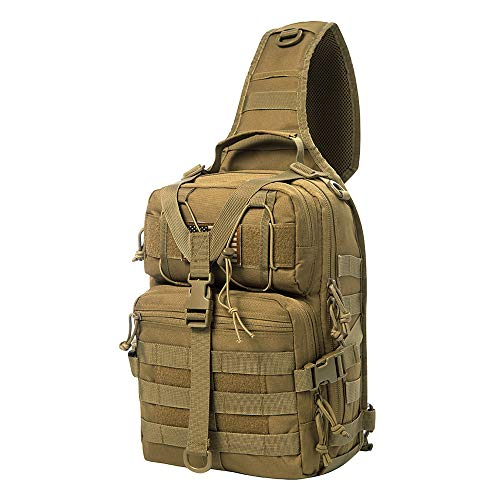 AXEN Tactical EDC Sling Bag Pack, Military Rover Shoulder Molle Backpack, with USA Flag Patch, Brown