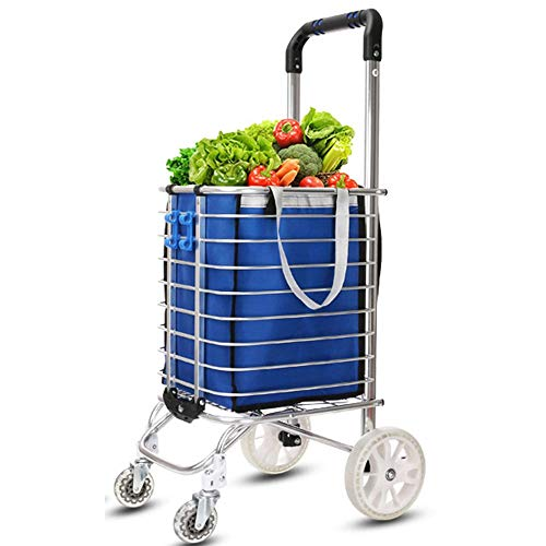 399813fb6896 ZSLLO Shopping Cart Compact Shopping Cart Trolley Pack Foldable Reusable  Grocery Shopping Bag Eco-Supermarket Bag Easy to Use and Heavy Bolsas  (Color ...