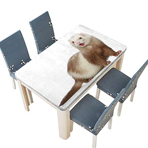 PINAFORE Fitted Polyester Tablecloth  Ferret (Polecat) on a White Background Spillproof Tablecloth W69 x L108 INCH (Elastic Edge)