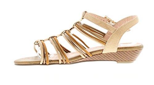 NEU Damen / Damen Braun Beige Riemchen kleiner Keilabsatz Sandalen Open Toe - braun mix - UK Größen 3-8