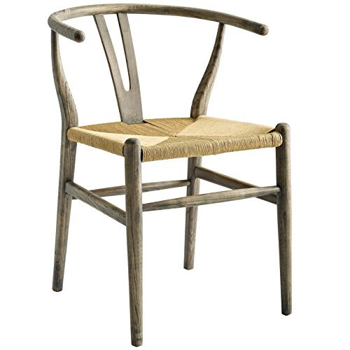 Modway Amish Mid-Century Wood Kitchen and Dining Room Chair in Gray