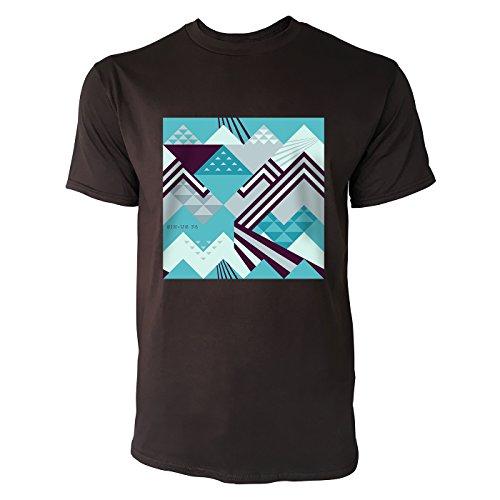SINUS ART ® Abstraktes geometrisches Muster – Grün Herren T-Shirts in Schokolade braun Fun Shirt mit tollen Aufdruck